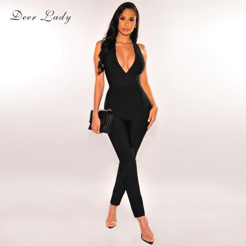 Tuta da donna Pagliaccetto Deer Lady Runway Bandaggio Body Body Donne 2021 V Collo Sexy Tuta Sexy Maxi Blouse Party Club