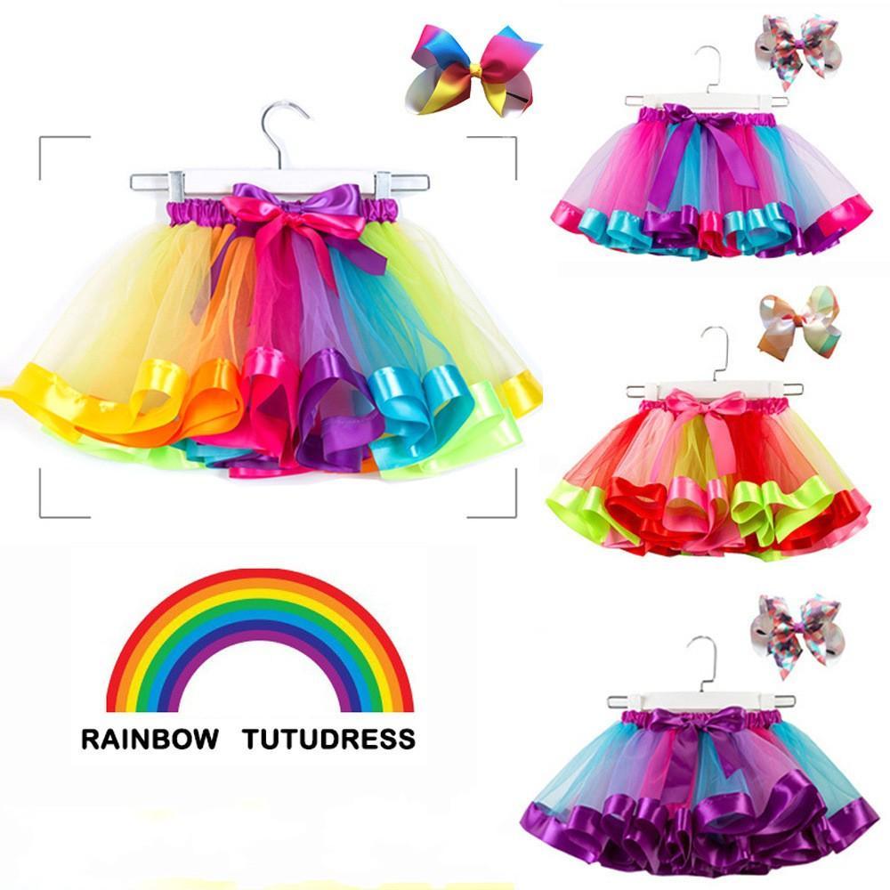 Rainbow Colors Mini Short Girls Dresses 2021 Plus Size Ruffles Puffy Tutu Skirts For Toddler Children Dance Party Holiday Dress Flower Girl Dress