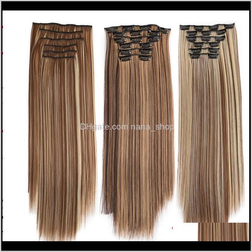 In / auf Produkte Drop Lieferung 2021 22 Zoll Clip in synthetischen Haarverlängerungen Schussfaden 140g 20 Farben Simulation Menschenhaare Bündel MR-5S-6PCS L