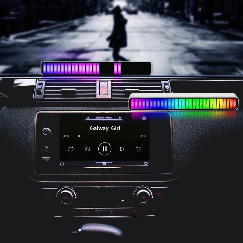 Acil Durumlar 32LED Ses Kontrolü Işık Telefon Uygulaması Sesli Aktif Pikap Ritim Typeec Renkli Müzik Ortam Çubuğu
