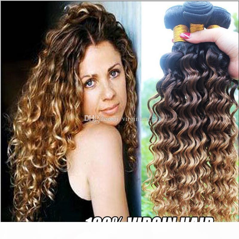 8A Perulu Ombre Derin Dalga Kıvırcık Saç 3 Demetleri Ombre Saç Uzantıları 3 Ton 1B 4 27 Bal Sarışın Ombre İnsan Saç Dokuma