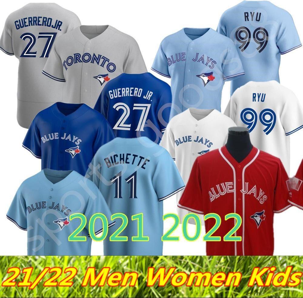 Custom Toronto 2021 2022 Blue Jays Jersey 11 Bo Bichette 27 Vladimir Guerrero Jr. Cavan Biggio Hyun-Jin Ryu Yamaguchi Randal Grichuk Drury Drury Hernandez