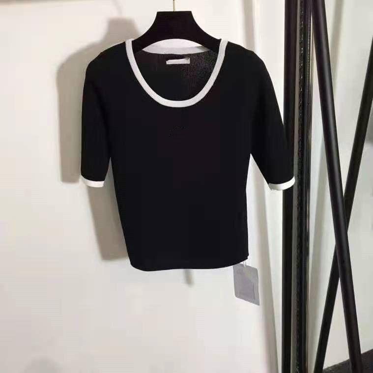 402 2021 Primavera Estate Brand Same Style Maglioni di alta qualità Bianco Crew Cloy Stampa manica corta Pullover Stampa Donna Abbigliamento Maglione Weinish