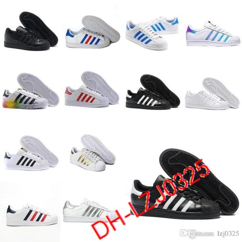2021 ORIGINALES BOOTS SUPERSTRATERES Blanco Rojo Oro estrellas Pride Sneakers Supers Star Lady Men Sport Zapatos casuales Tamaño 36-44 DHX-H34