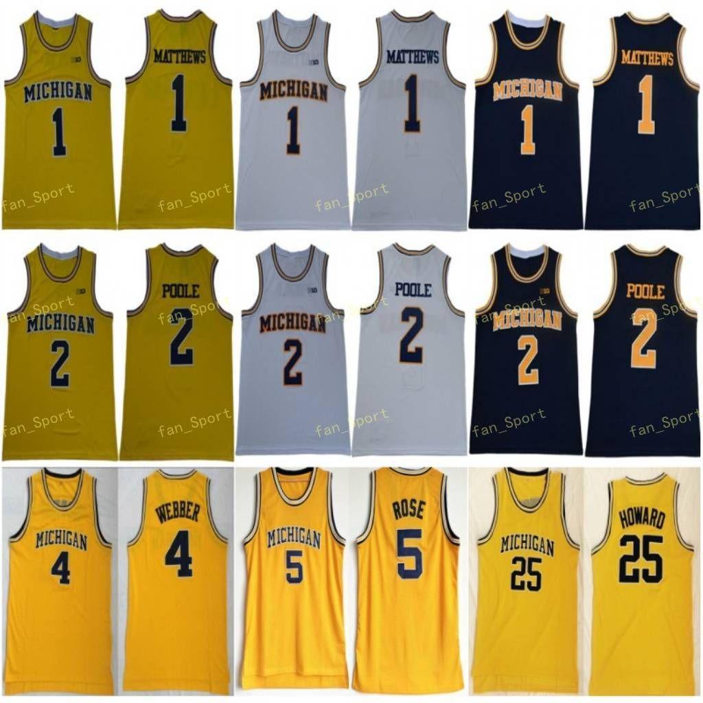 NCAA Michigan Wolverines 5 Jalen Rose Jersey Chris Webber 4 Juwan Howard 25 1 Charles Matthews 2 Jorda Poole 대학 농구 노란색 남성