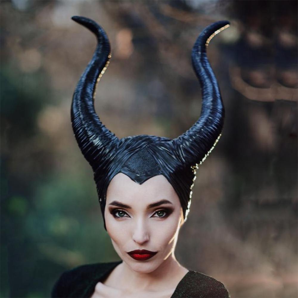 Women Maleficent Costume Witch Black Horns Cosplay Mask Halloween Hat Headgear