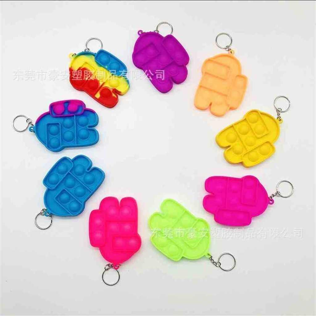 rainbow poo-its keychain اللعب الحسية دفع فقاعات تململ لعبة مفتاح سلسلة كيرينغ فنجر فقاعة الضغط الصلبة اللون بيع H522HRJ