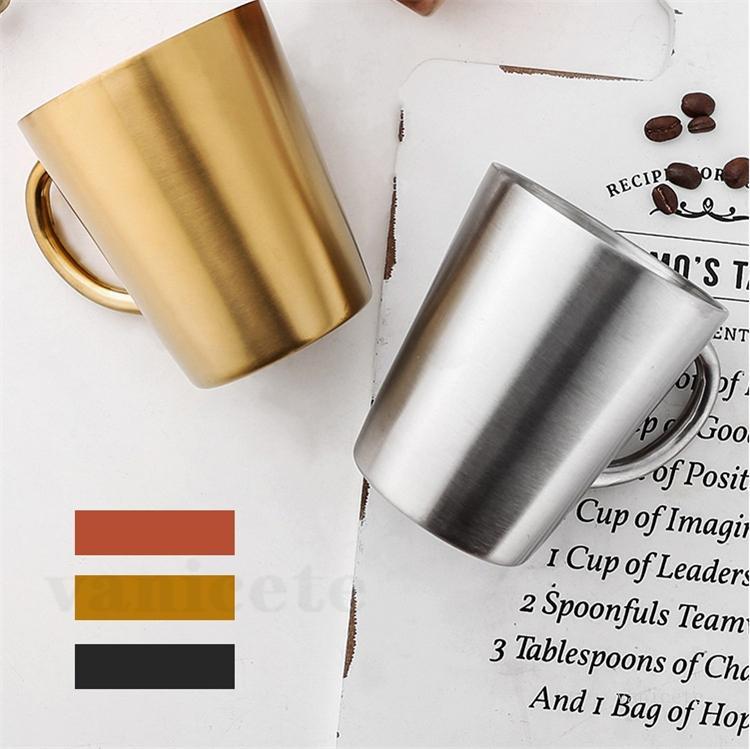Doppelschicht-Tumbler-Wärmedämmung 304 Edelstahl-Wasserbecher mit Griff-Bierbecher Fall-Chef-Kaffeetasse ZC184