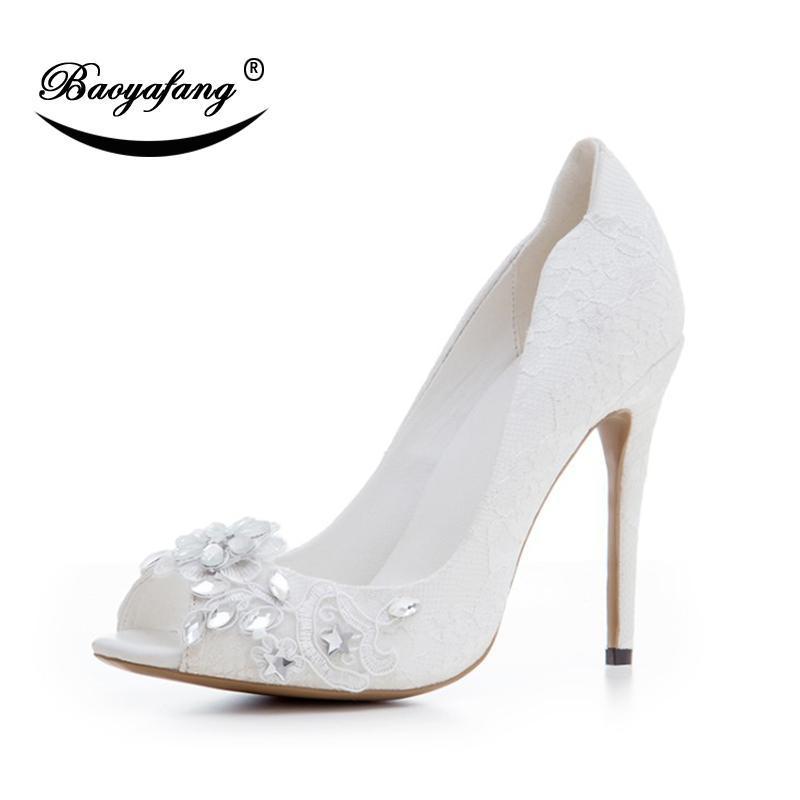 Baoyafang 2021 12 cm Donne Scarpe da sposa Tacco alto Signore Ladies Bianco Pizzo Party Donna Femmina Peep Toe Abito moda