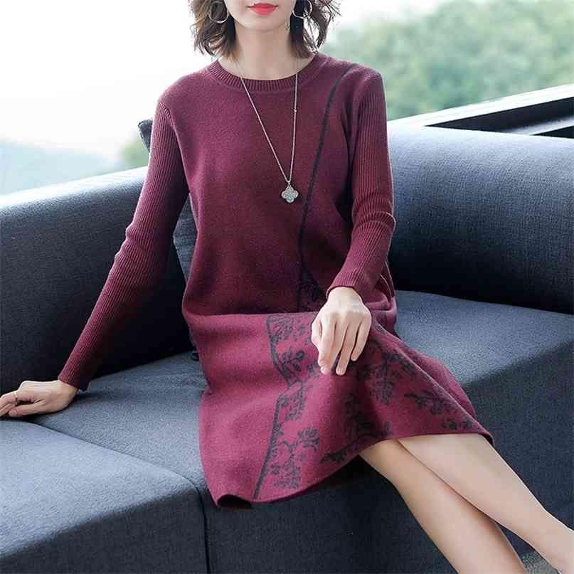 Elegante Bodycon Vintage Frauen Midi Kleider Beiläufige Plus Größe Lose Schwarz Strick Pullover Kleid Herbst Winter Party Vestidos 210603