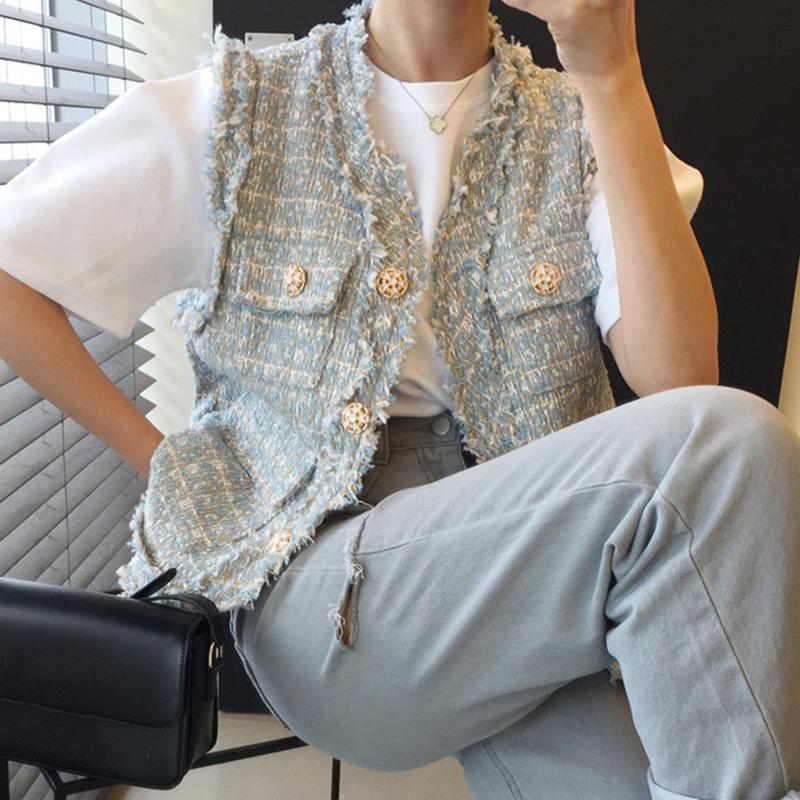 Chalecos de mujer chic verano francés suelto suelto soltero pecho tweed chaleco sin mangas top mujeres coreano abrigos abrigos de ropa exterior para mujer chaleco