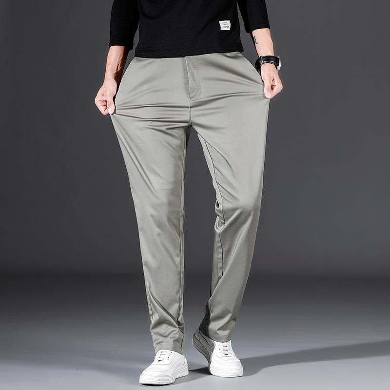 봄 남자의 비즈니스 캐주얼 느슨한 똑 바른 바지 남성 패션 해군 블루 블랙 작업 바지 2021 가을 브랜드 옷