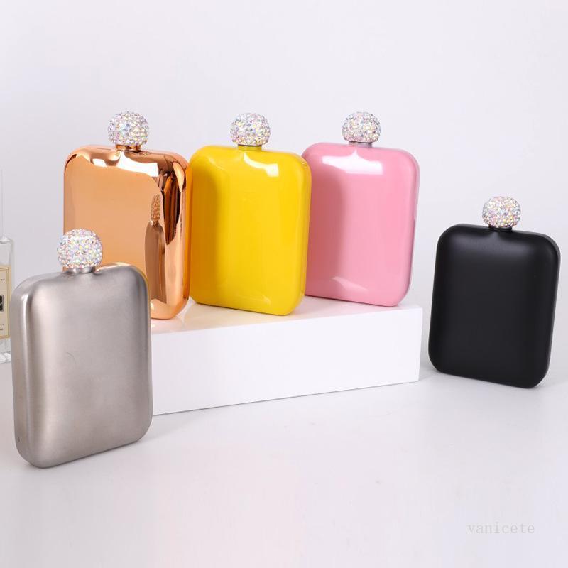 Flacons de hanches en acier inoxydable à la mode avec couvercle diamant dames portables portables carrées portables bouquies mini poche 5 couleurs