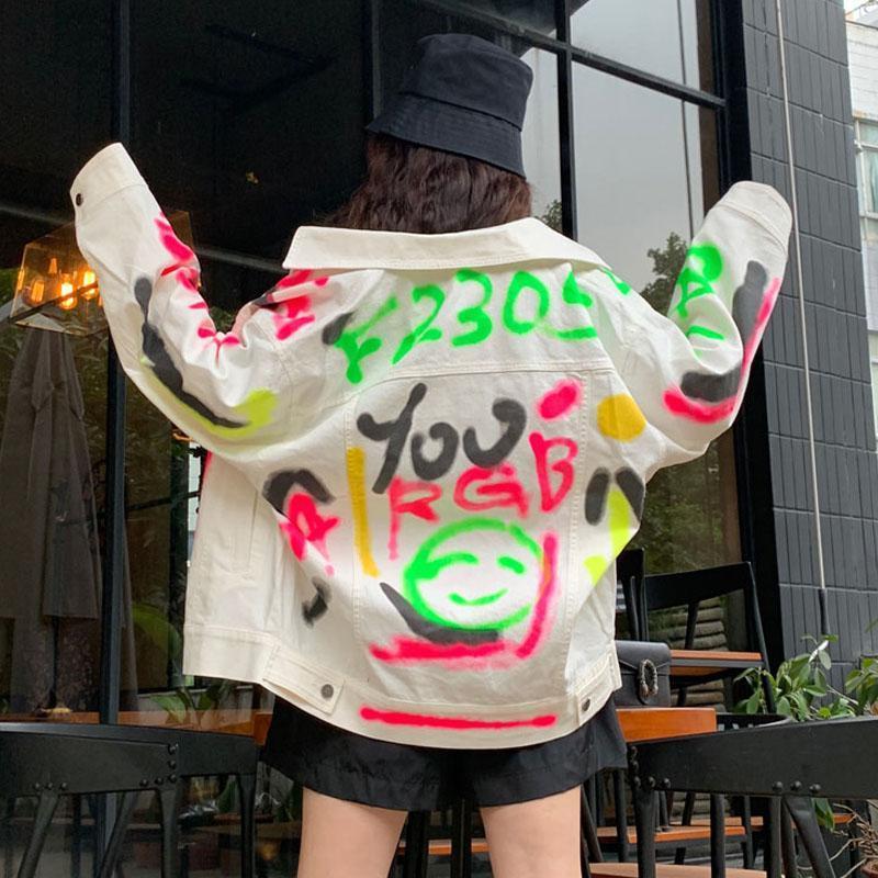Denim Jacke Mäntel Mäntel Streetwear Frühling Jean Jacken Frauen Mantel Weibliche Graffiti Mädchen Oberbekleidung Weiß