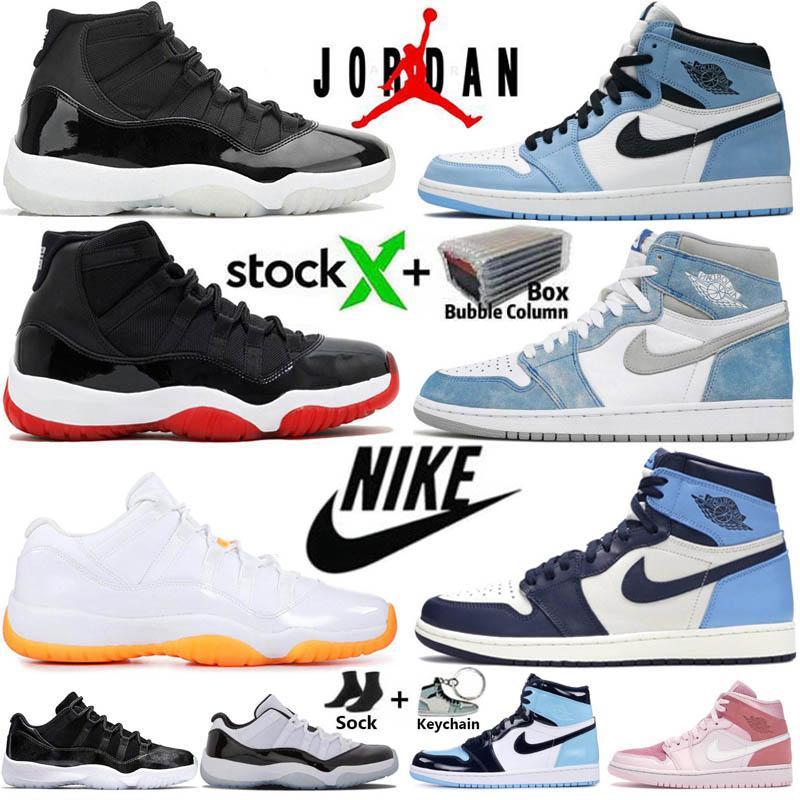 مع صندوق Jumpman 1 أحذية كرة سلة عالية للرجال 1s جامعة زرقاء Hyper Royal Obsidian UNC Dark Mocha Twist Mid Chicago Women أحذية رياضية للمدربين
