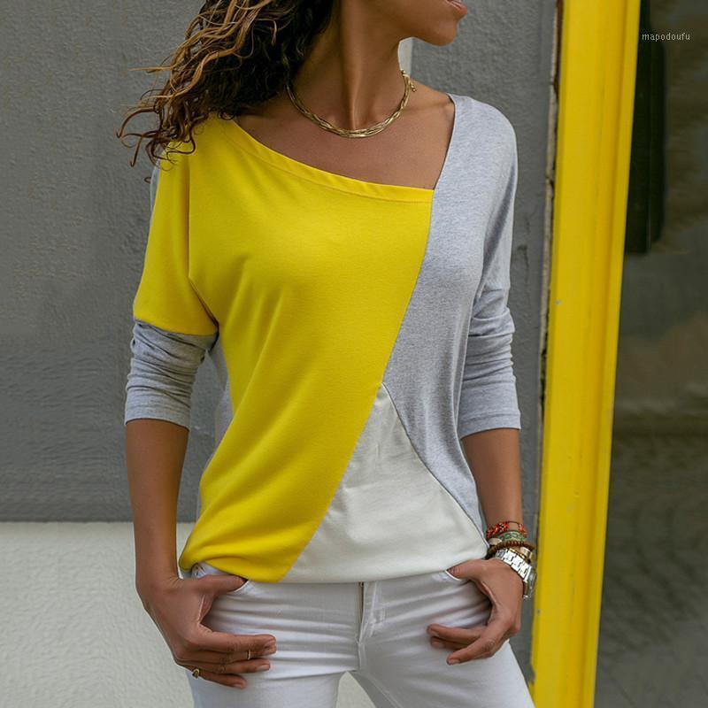 A 2020 Frauen Pullover Pullover Patchwork Langarm Hemd Frauen Casual Lose Top T Shirt Sexy V-Ausschnitt Weibliche Blusa1