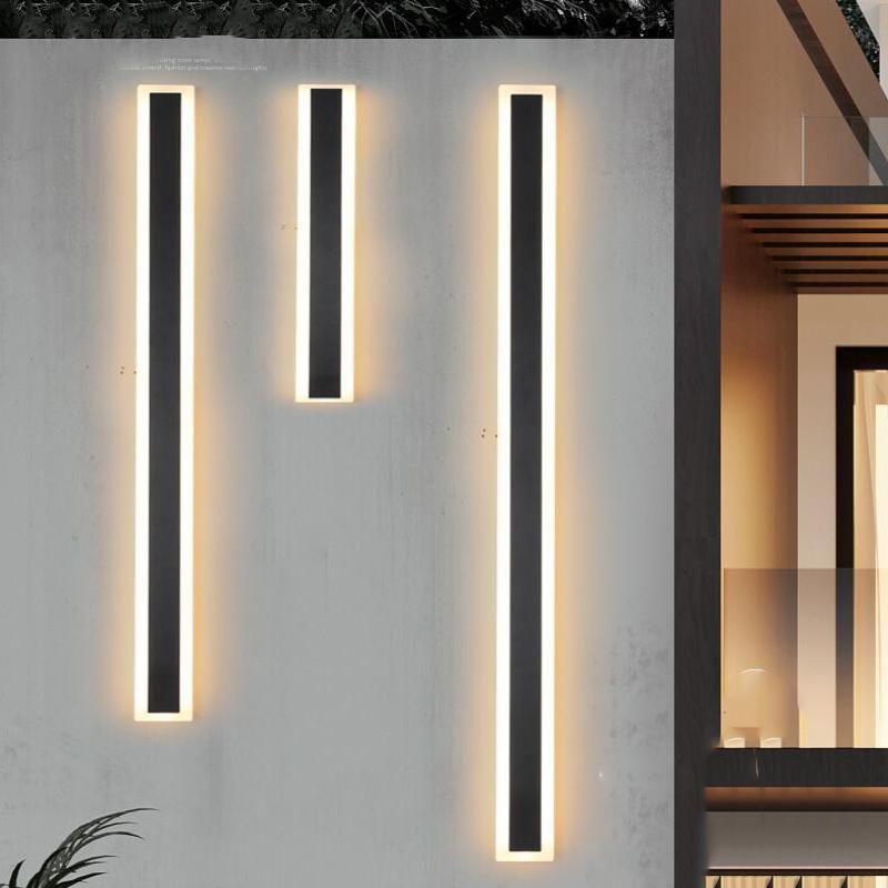 Открытые настенные лампы Современное водонепроницаемая длинная полоса светодиодная лампа IP65 алюминиевый свет Сад крыльцо Sconce 100V 260V светильник