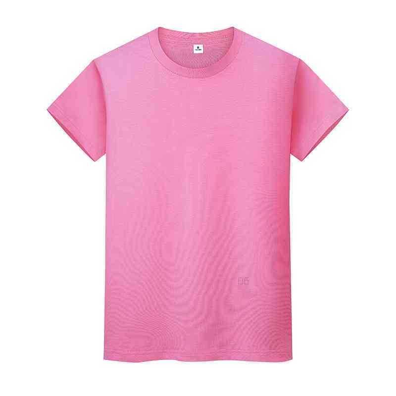 새로운 둥근 목 솔리드 컬러 티셔츠 여름 코튼 바닥 셔츠 반팔 망 및 여성 반팔 6OAVIQ