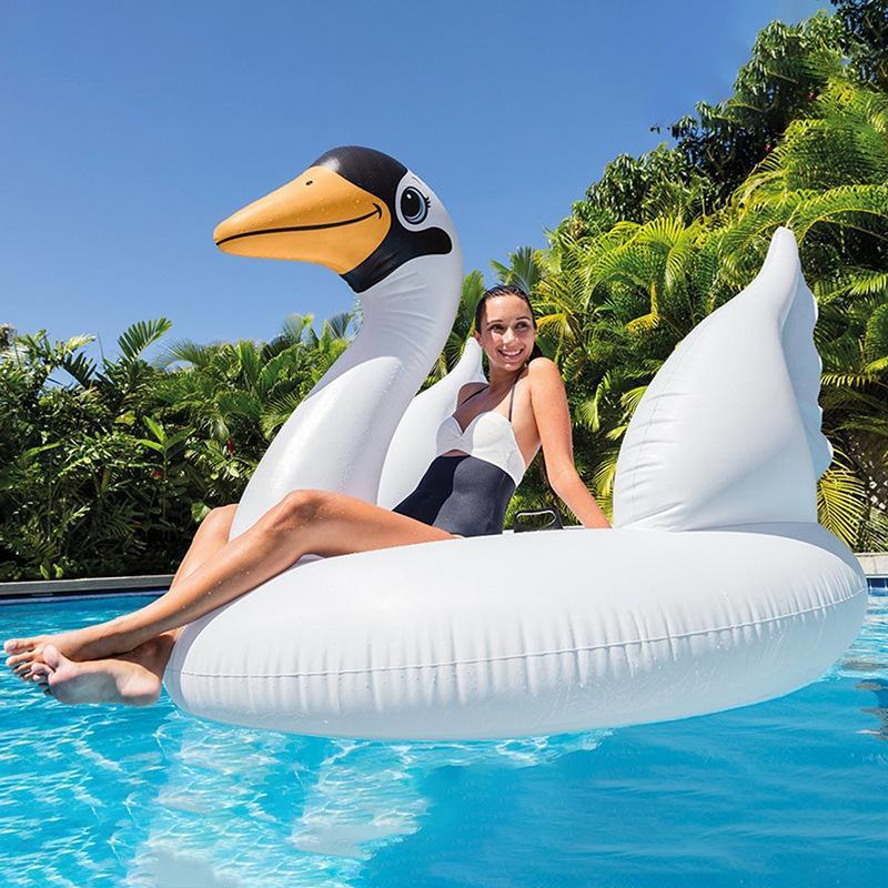 Whooper بجعة الطيور الأطفال جبل السباحة الدائري الكبار نفخ اللعب العائمة صف السرير المياه الشاطئ اللعب