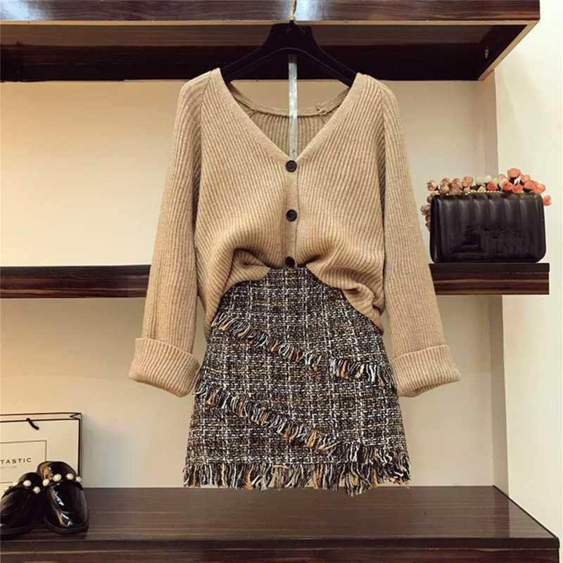 Fall Winter Womans V-necked Button Cardigan Knitted Coat + High-waisted Tassel Tweed Skirt 2pcs sets Ladies Skirts Outfits 201008