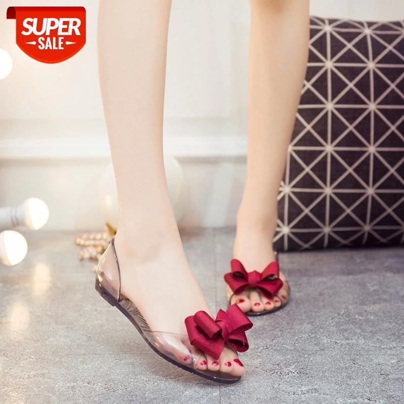 Women Sandals Open Toe Summer Jelly Shoes Woman Fashion Butterfly-knot Flat Beach Slip On Flip Flops #VD8o