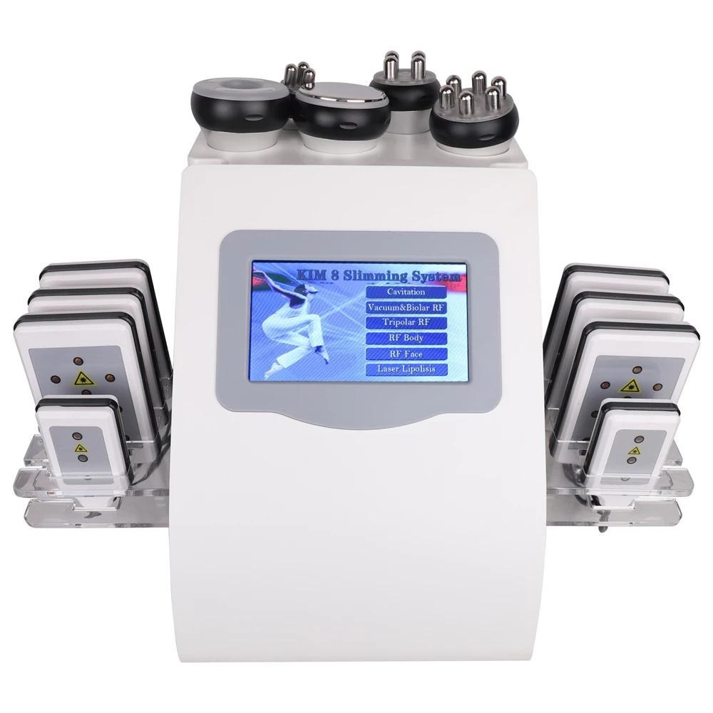 6 in 1 Kim 8 슬리밍 시스템 40K Cavitation Machine Lipo 레이저 초음파 진공 RF Lllt Lipolysis 뚱뚱한 불타는 바디 쉐이핑 뷰티 장비