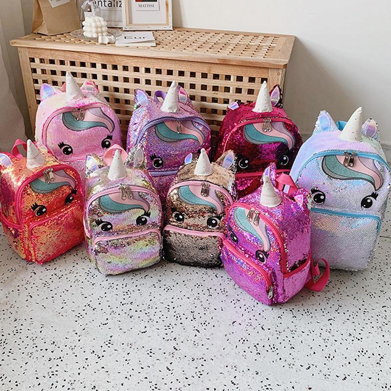 눈 유니콘 조랑말 배낭 패션 Sequined Cartoon School Bag 대형 소형 버전 부모 - 자식 가방