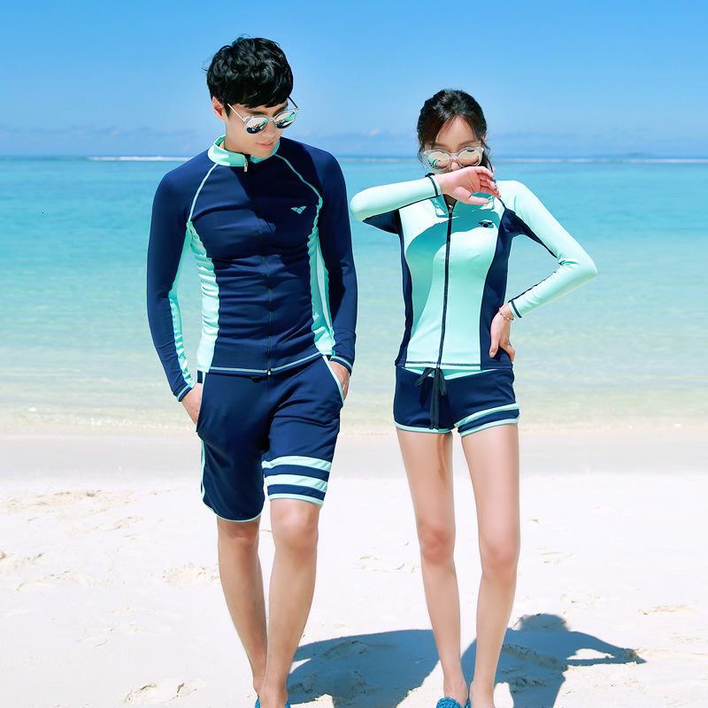 Corea del Sur traje de buceo con cremallera Split de manga larga Pantalones de natación Protección sol solar Secado rápido Pareja Jellyfish traje Hombres y mujeres