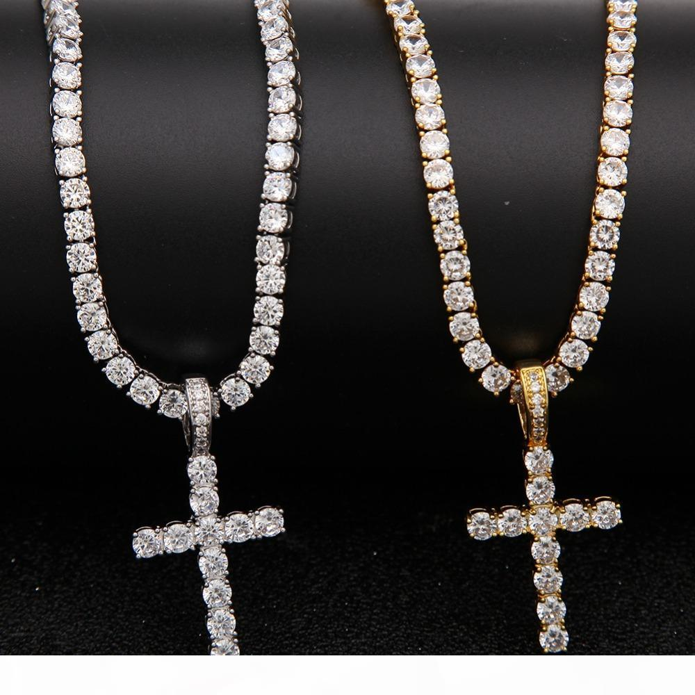 Iced Out Zircon Cross Pendant With 4mm Tennis Chain Necklace Men Women Hip hop Jewelry Gold Silver CZ Set