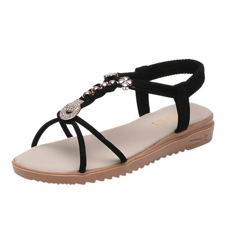 Frauen Ohemian Perlen Clip-Zehe Öffnen Elastic Beach Casual Solid Sandalen Anti-Rutsche Outdoor Allertag Runde Kopf Schuhe
