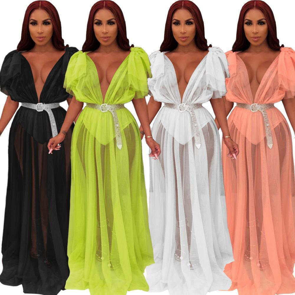 Femmes Robes Été Mesh Transparent Deep V cou V long taille Maxi Robe Sexy Nigth Club Party Flare Sleeve Vestidos