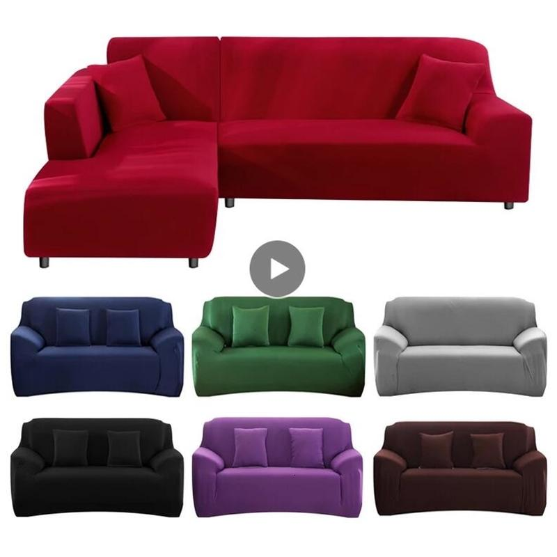 Easy Storage Elasticity Sofa Cover Extensible Couch SofaCovers Sectional Solid Color Single/two/three/four Seats L Shape Need Buy 2pcs 24