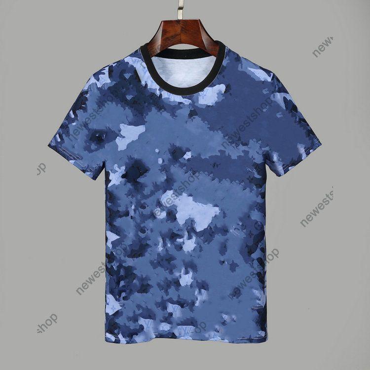 arrive Summer Designers Shirts Mens Clothing Tshirt blue camo letter Printing Casual T-shirt Women Luxury T Shirt Dress Tee Tops