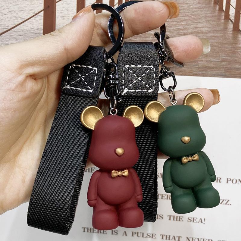 Novo nó urso design carro chaveiro saco de resina pingente charme jóias titular de chaves para mulheres presentes homens moda couro bicha acessórios chaveiros