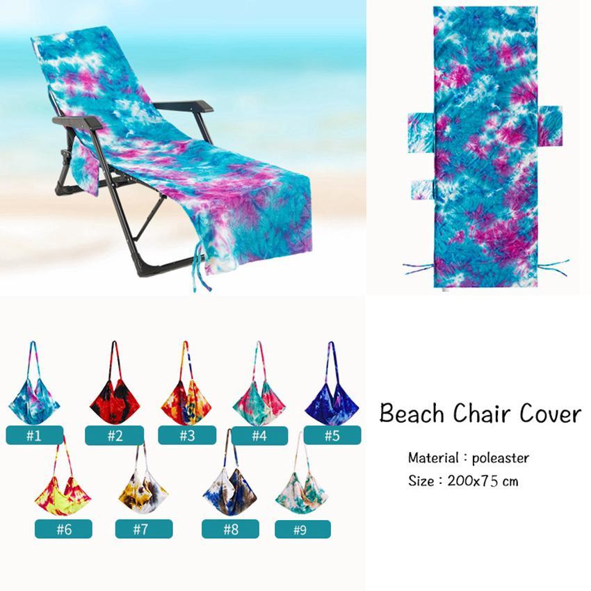 Cravate Dye Beach Chair couverture avec poche latérale Chaises de chaise longue Couvertures Sun Lounger Sunbather Jardin Absorption d'eau 8 pcs LLA740