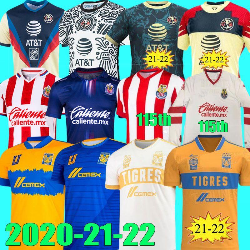 Liga MX 2021 2022 TIGRES UNAM GIGNAC CLUB AMERICA JERSEYS GIOVANI 20 21 22 CAMISETAS 115º CHIVAS 115 AÑOS Jersey O.Peralta Camisetas de fútbol
