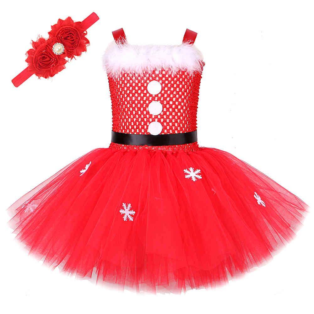 Baby Girl Christmas Robe pour enfants Costumes de Père Noël pour filles Robes du Nouvel An avec bandeau de fleurs Enfants Vêtements de Noël 210329