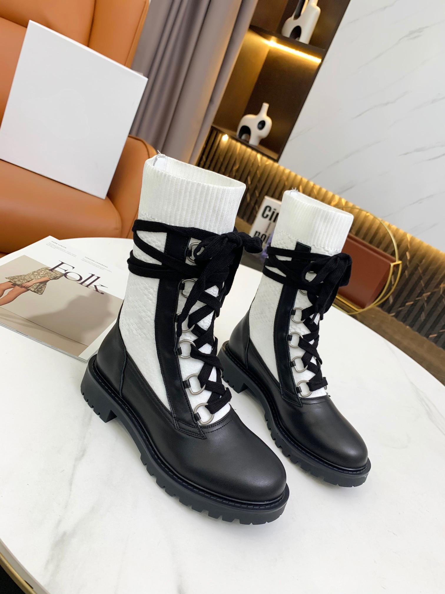 21 Бренд Роскошный дизайнер D-Land Начальник на шнуровке Boots заднее кольцо тянуть пятиконечную звезду подошвы белый эластичный хлопок вышитые носки размером 35-42