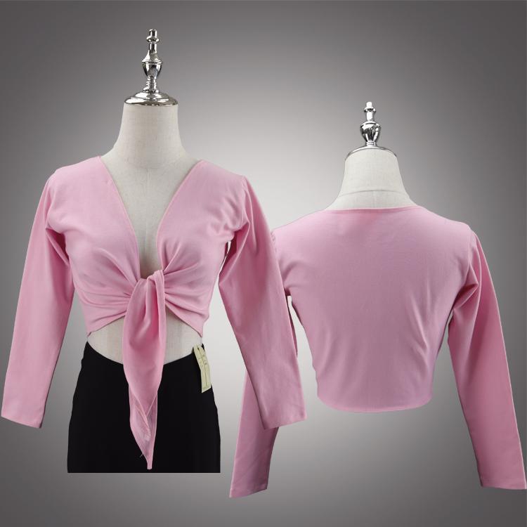 Adult long sleeve knot ballet top A2416 wholesale yoga wear jazz dance