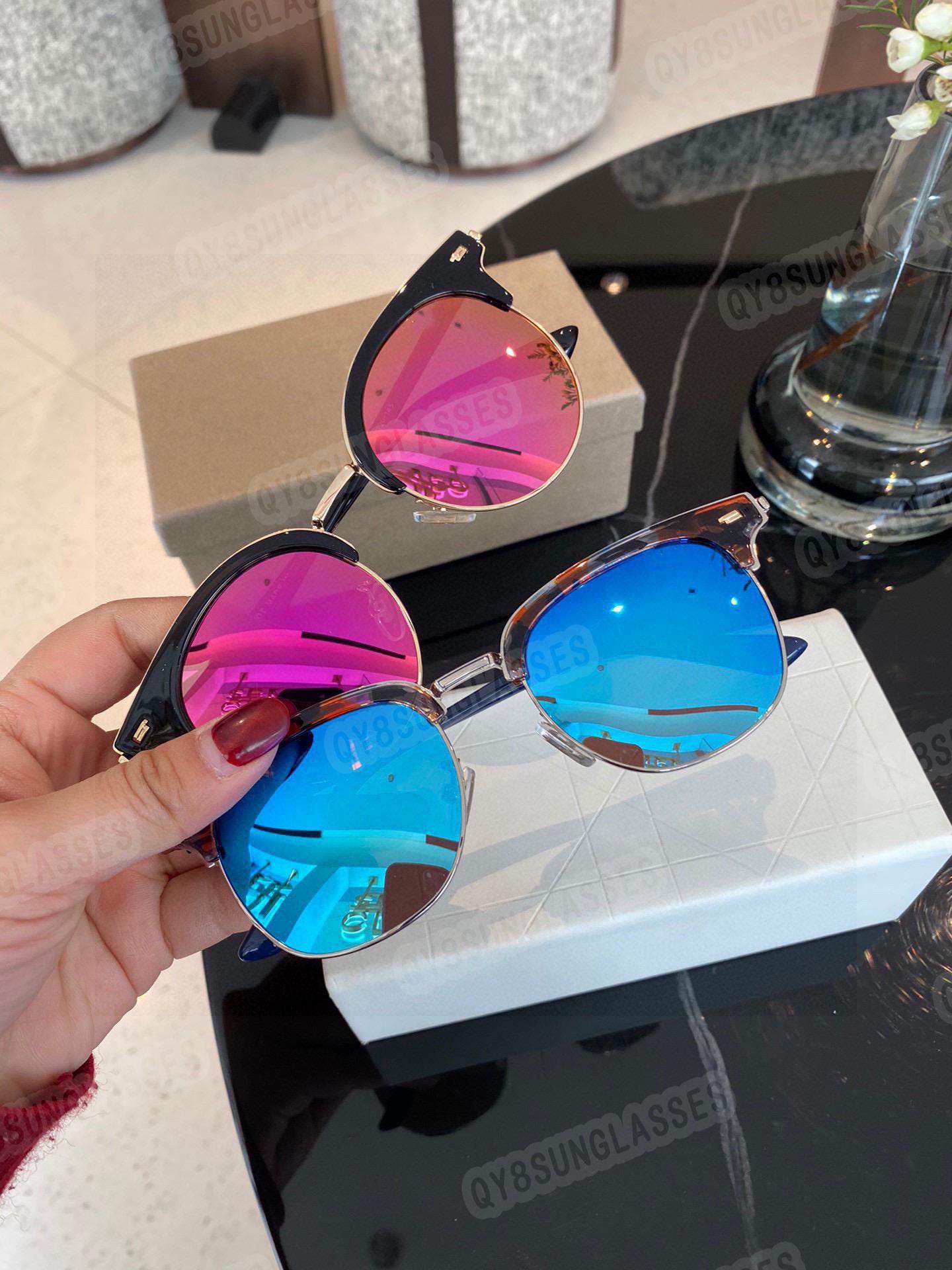 Europäische und amerikanische Halbrahmen-Sonnenbrille Männerfrauenspiegel fahrende Farbe Mode-Stil
