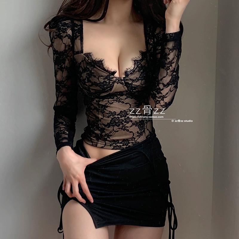 Womengaga 2021 Neue französische sexy niedrige große büste wimpern spitze mesh perspektive mesh kurze mini langarm t-shirt sommer top u78h