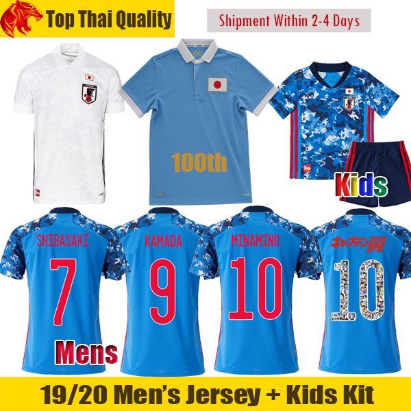 20 21 Japan Soccer Jerseys 100e anniversaire Kamada Shibasaki 2020 Mens Uniformes Kit enfants Tsubasa Minamino Football Shirt Kubo Jersey