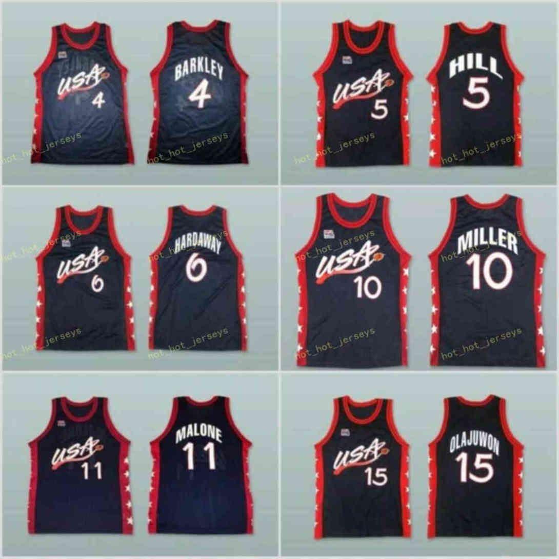 Sueño Tres jerseys de baloncesto de 1996 Karl 11 Malone Grant 5 Hill Reggie 10 Miller Jersey College Blue Blanco 13 O Neal