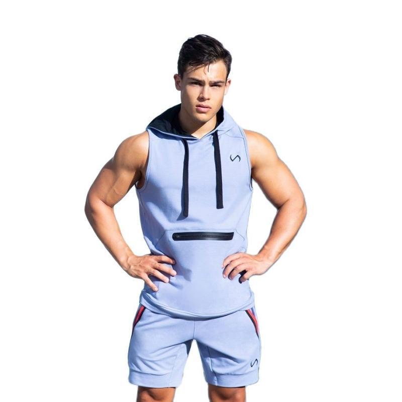 Herren Trainingsanzüge Mode Casual Baumwolle Kurzärztliche Kapuzenshirt Shorts 2-teiliges Set 2021 Sommer Sportswear Track Anzug
