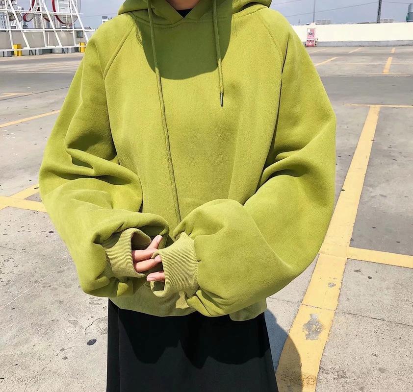 Women's Hoodies & Sweatshirts Woman Warm Hooded Winter Autumn Loose One Size Pullover Tops Fleece Outwear Clothes Street Wear Solid Color