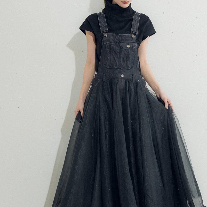 Chic Black Denim Frauen Kleider Mesh Kleid Koreanische Sommerschule Maxi Hohe Taille Robe Japan Stil Erweiterung