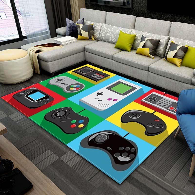 Teppiche Kinderzimmer Spiel Teppiche Cartoon Gamer Controller Muster Für Wohnzimmerbereich Rug Anime 3D Druck Kinder Spielmatten