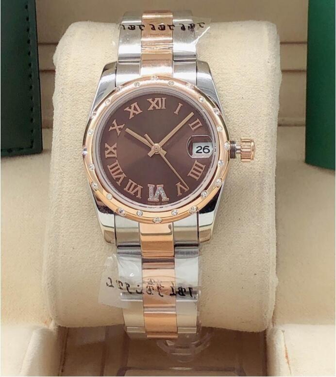 السيدات الساعات الميكانيكية 31 ملليمتر 6 أرقام الماس التلقائي جودة عالية حركة الفولاذ المقاوم للصدأ حزام تاريخ الساعات للماء