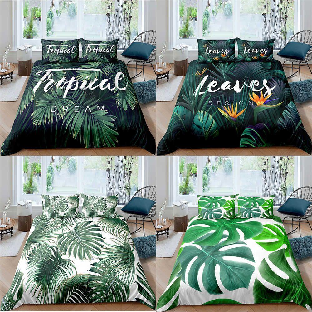 Zeimon Tropical Leake Pattern Doughet Cover набор постельных принадлежностей King Queen Полный двухместный размер кровать роскошь 2/3 шт. S 210615