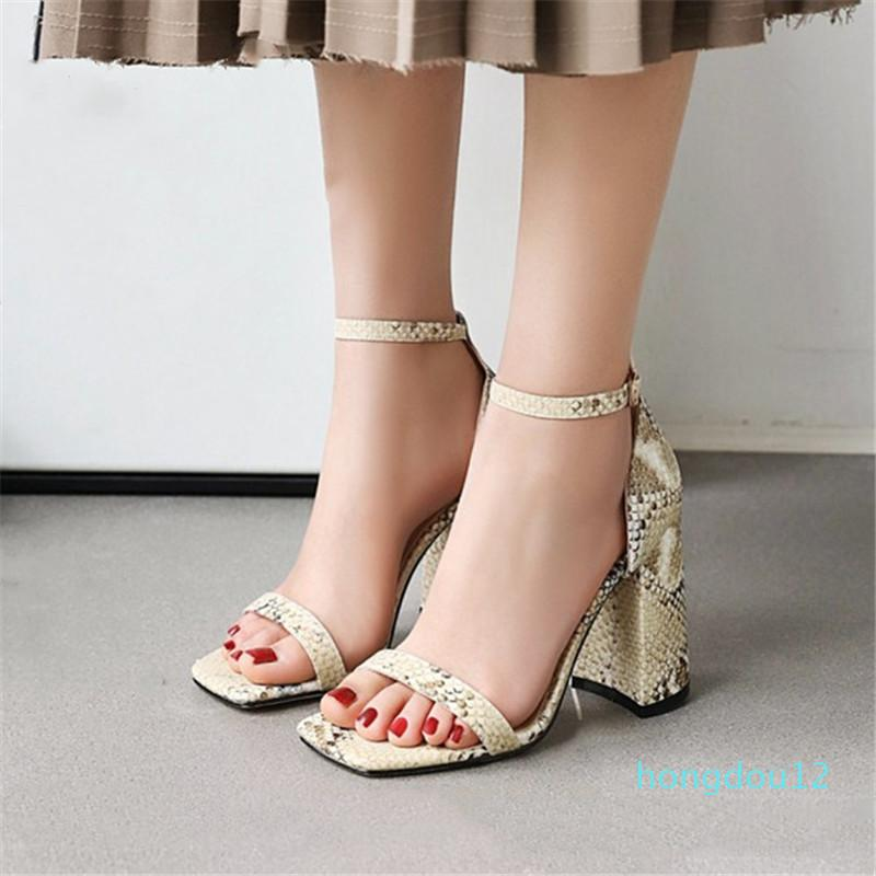 PXELENA Fashion Chunky Block Tacchi alti Sandali per le donne Stampa serpente 2020 Scarpe estive Cinturino per caviglia Aperto Abito Dress Office Lady